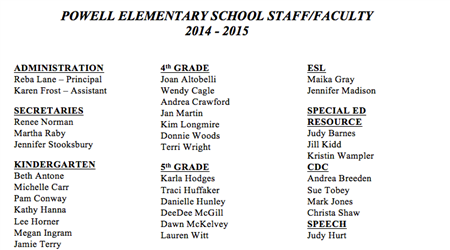 PES Staff/Faculty 2014-15