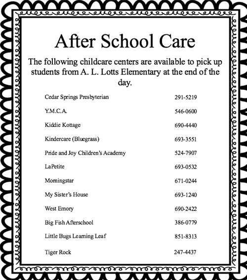 After School Care updated 5-9-18