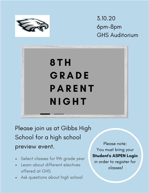 8th Grade Parent Night Flyer