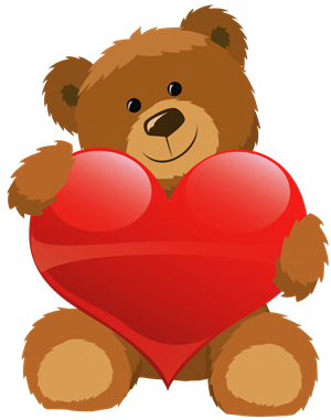 Cute Grizzly Bear with Red Heart