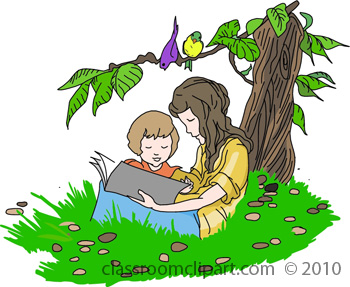 Child reading a book with a parent
