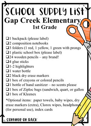 2019-2020 1st Grade Supply List