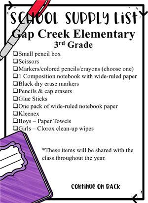 2019-2020 3rd Grade Supply List