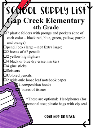 2019-2020 4th Grade Supply List