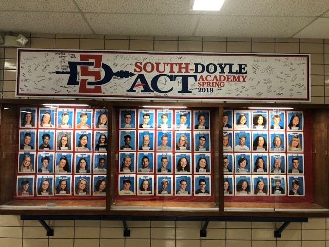South-Doyle High School highlights students who raise their ACT scores with a trophy case in the main hallway.