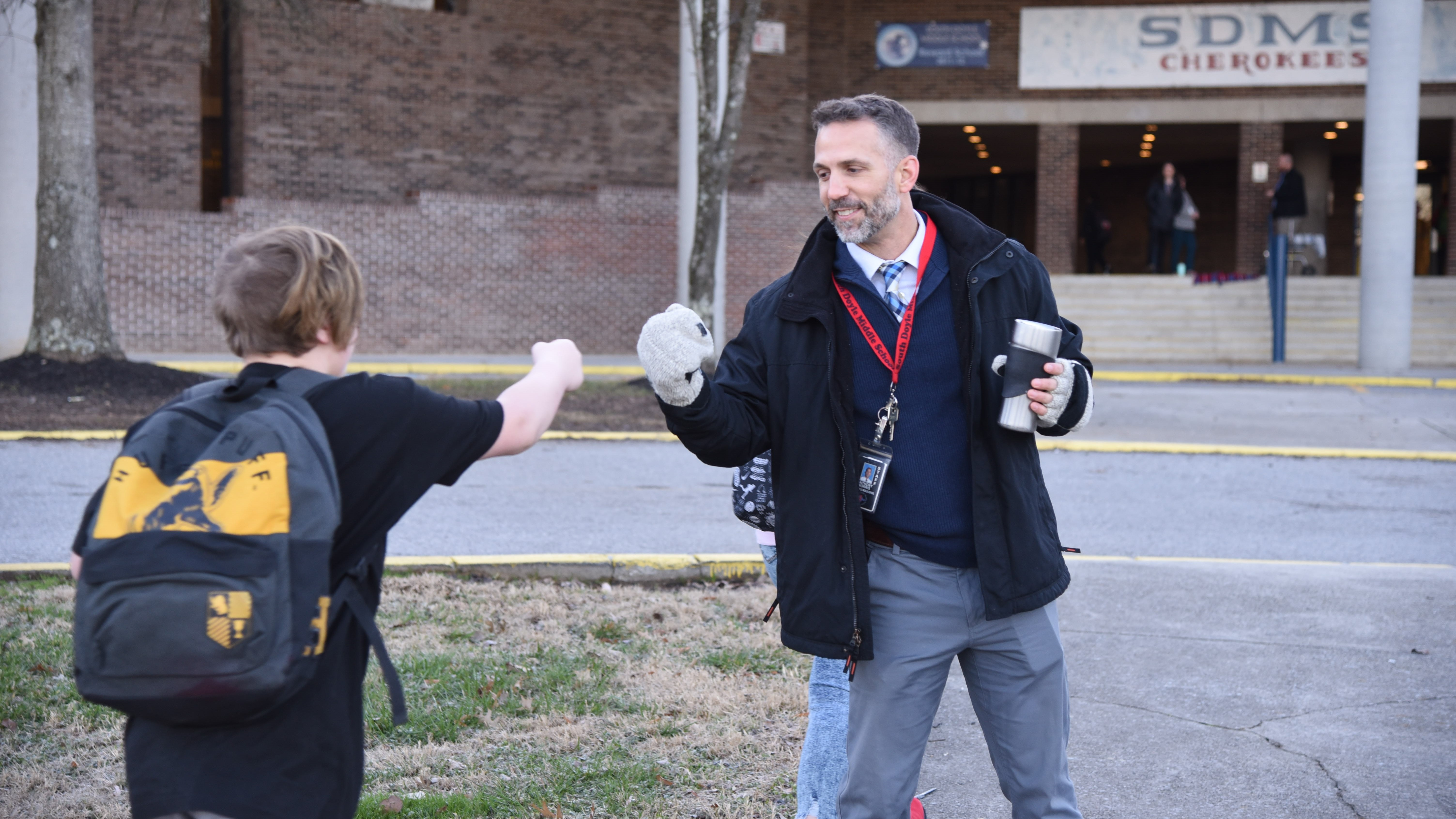 South-Doyle Middle School Principal Anthony Norris greets students on Jan. 8, 2020. Norris comes from a family of educators that includes his mother, Bonny Kate Elementary Principal Linda Norris.