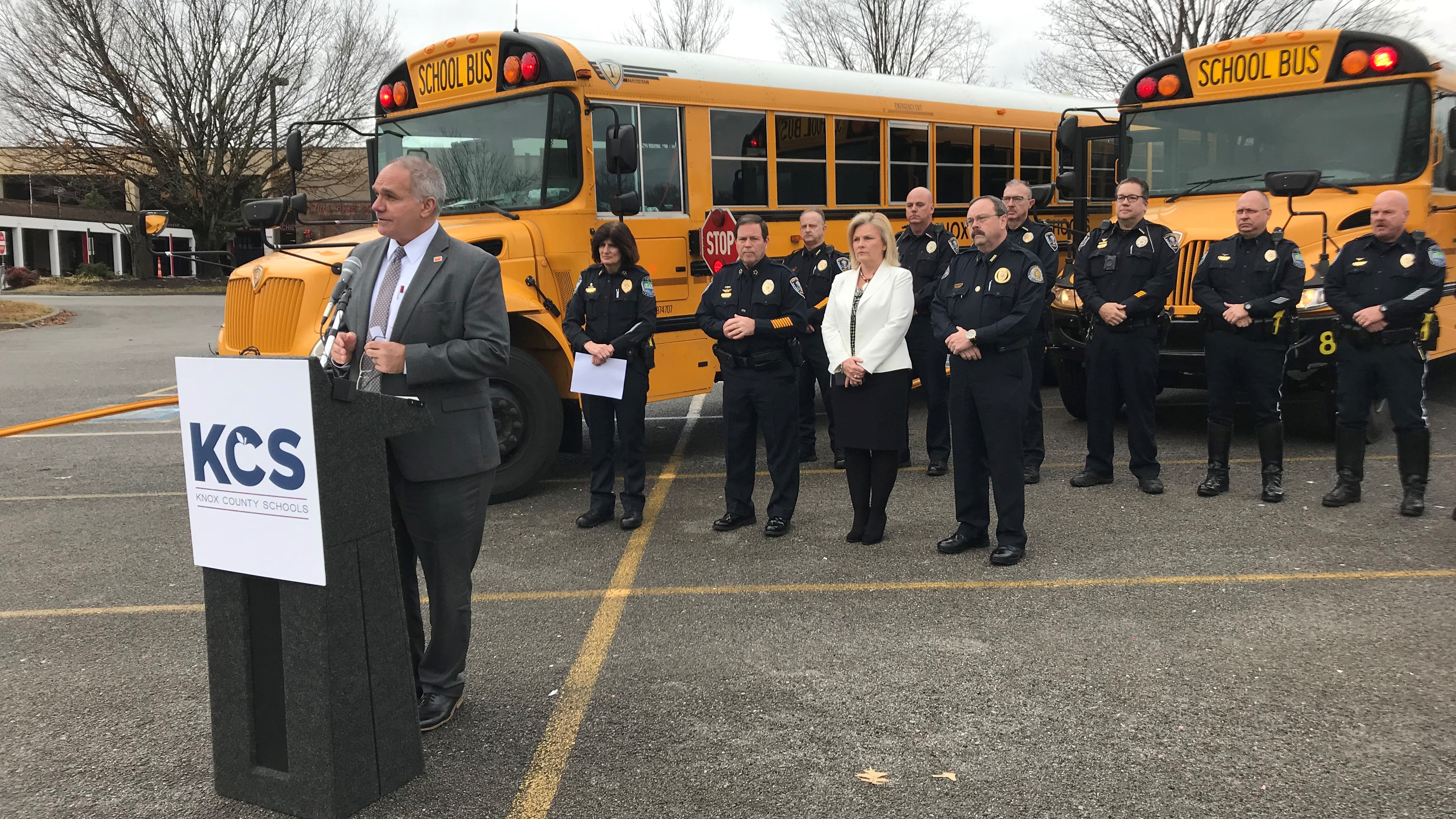 KCS Chief of Security Gus Paidousis speaks at a news conference about bus safety.