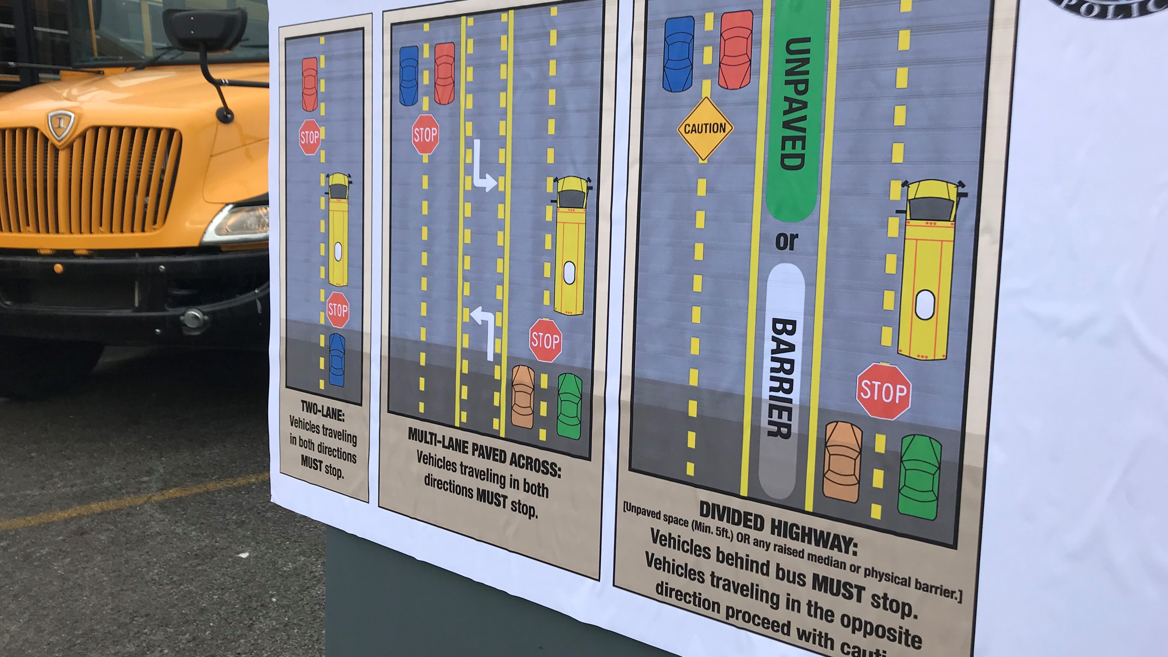 A poster highlights the rules that govern stopping for school buses.