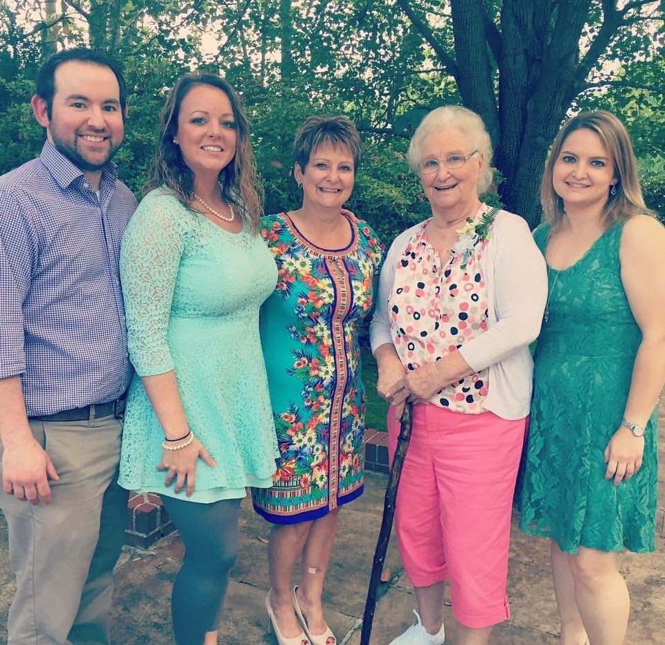 Brett Foster, right, is pictured with her Mammaw, Annie Everett, second from right, and other family members.