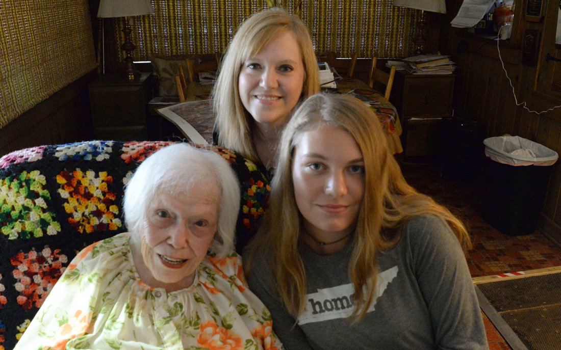 Chloe Ault Harrington with grand daughter Amy Harrington Bible, and great-grand daughter Charlie Rose.