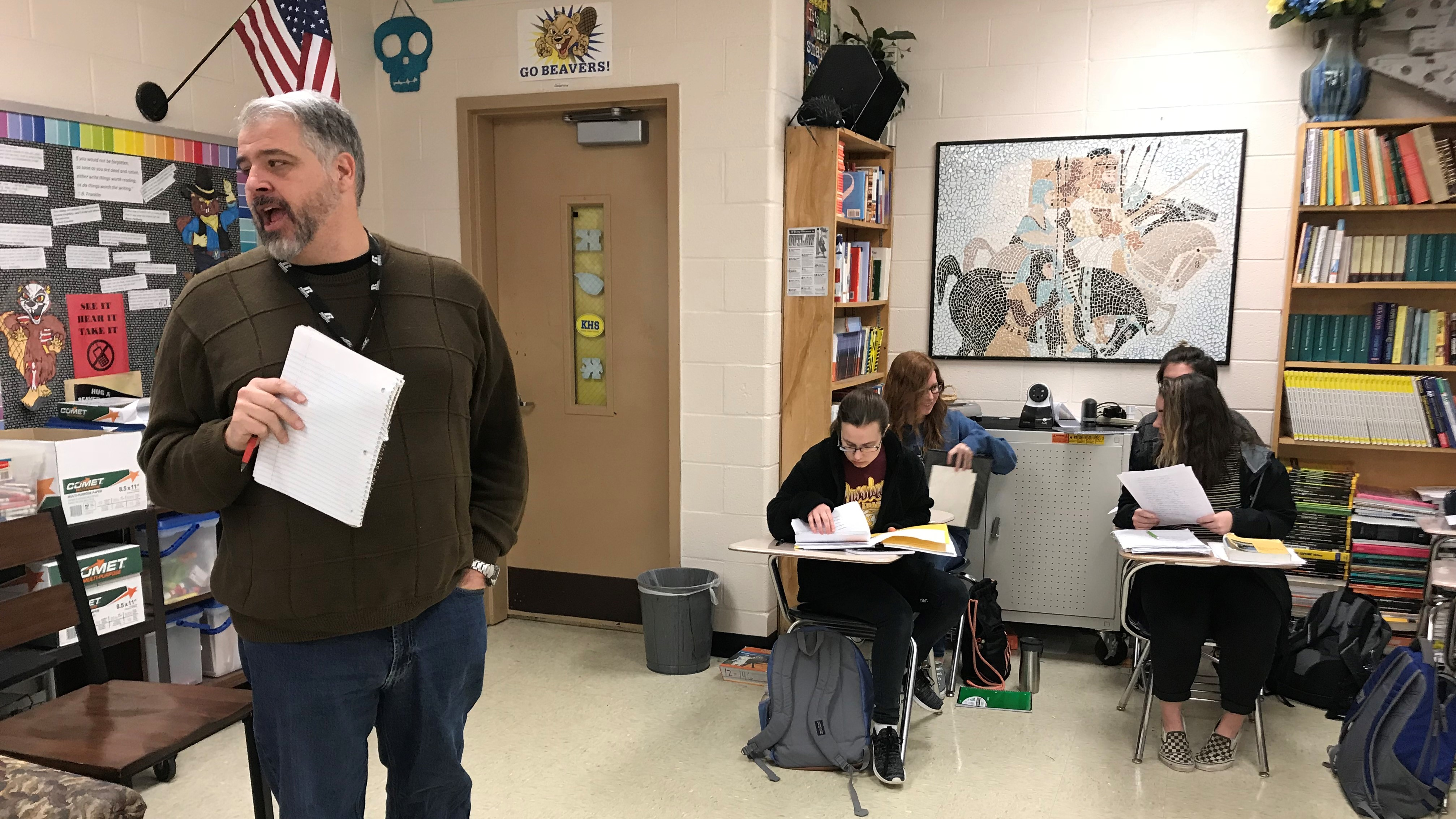 Karns High School teacher John Cionfolo leads a discussion during an AP English Language and Composition class.