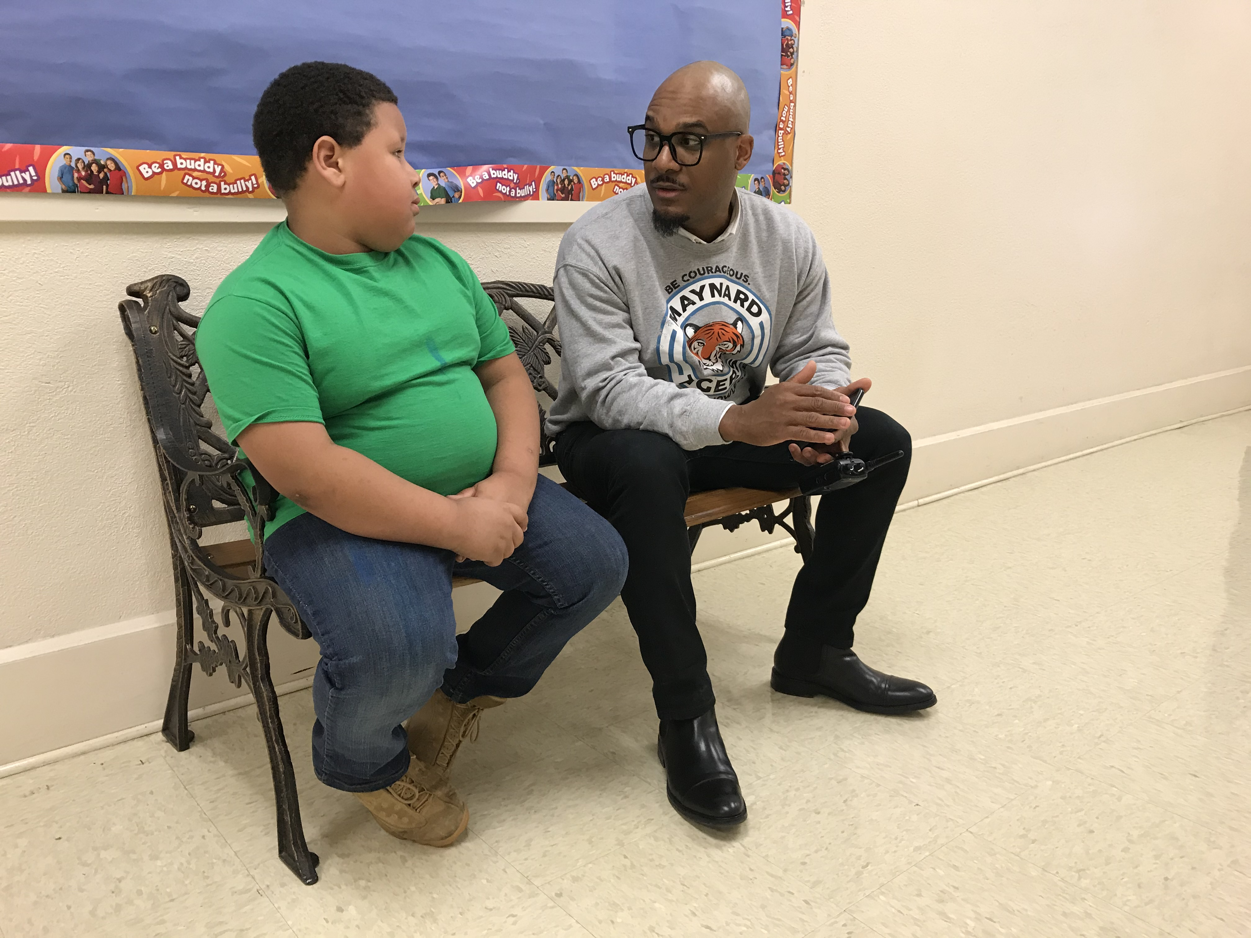 Maynard Elementary Principal Dexter Murphy visits with a student on Jan. 17, 2020. Murphy recently received the Dr. Martin Luther King, Jr. Commemorative Commission's Education Award.