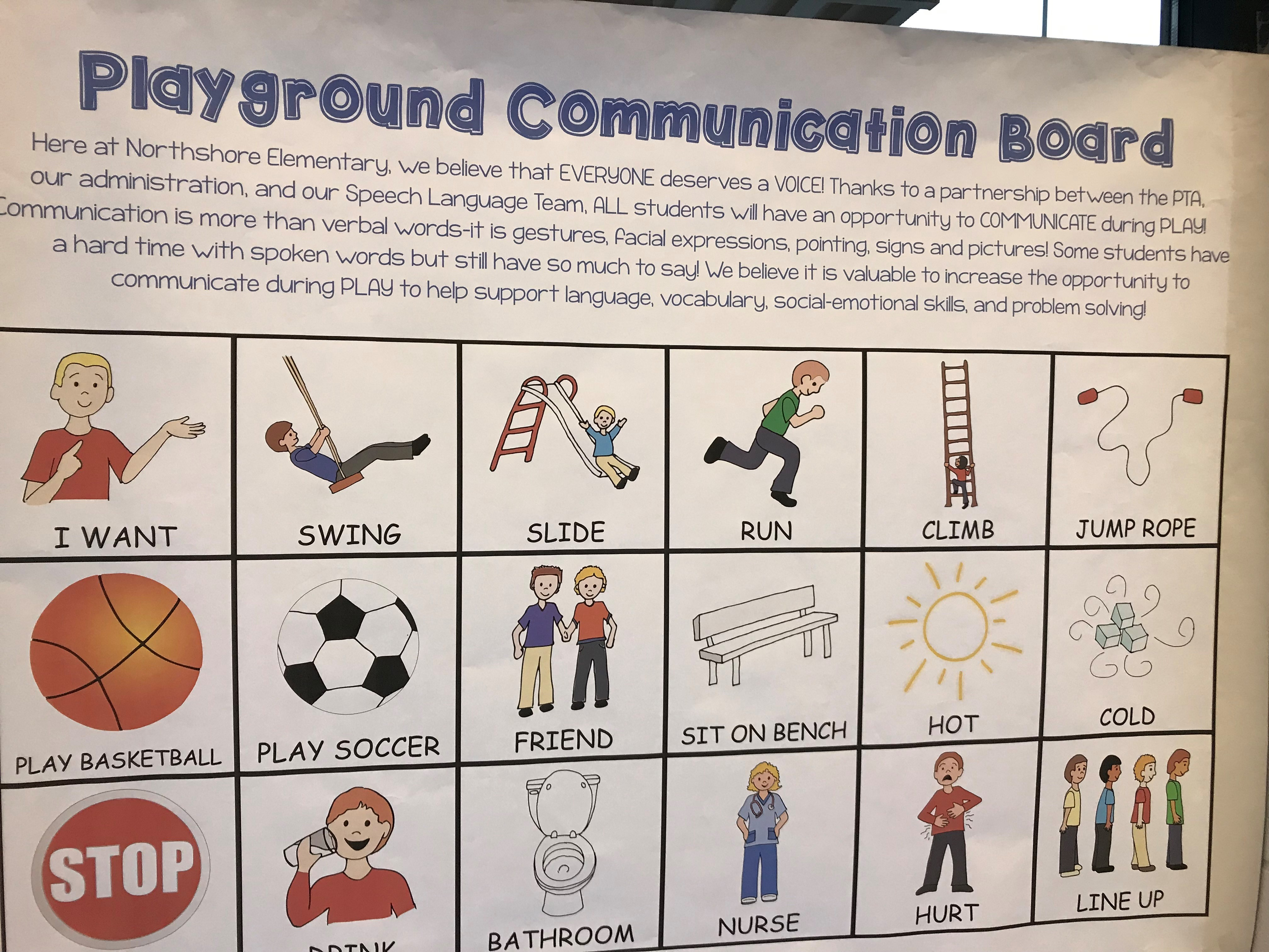 A mock-up of Northshore Elementary's new Playground Communication Board was on display inside the school on Wednesday, highlighting a variety of visual cues that will be included.