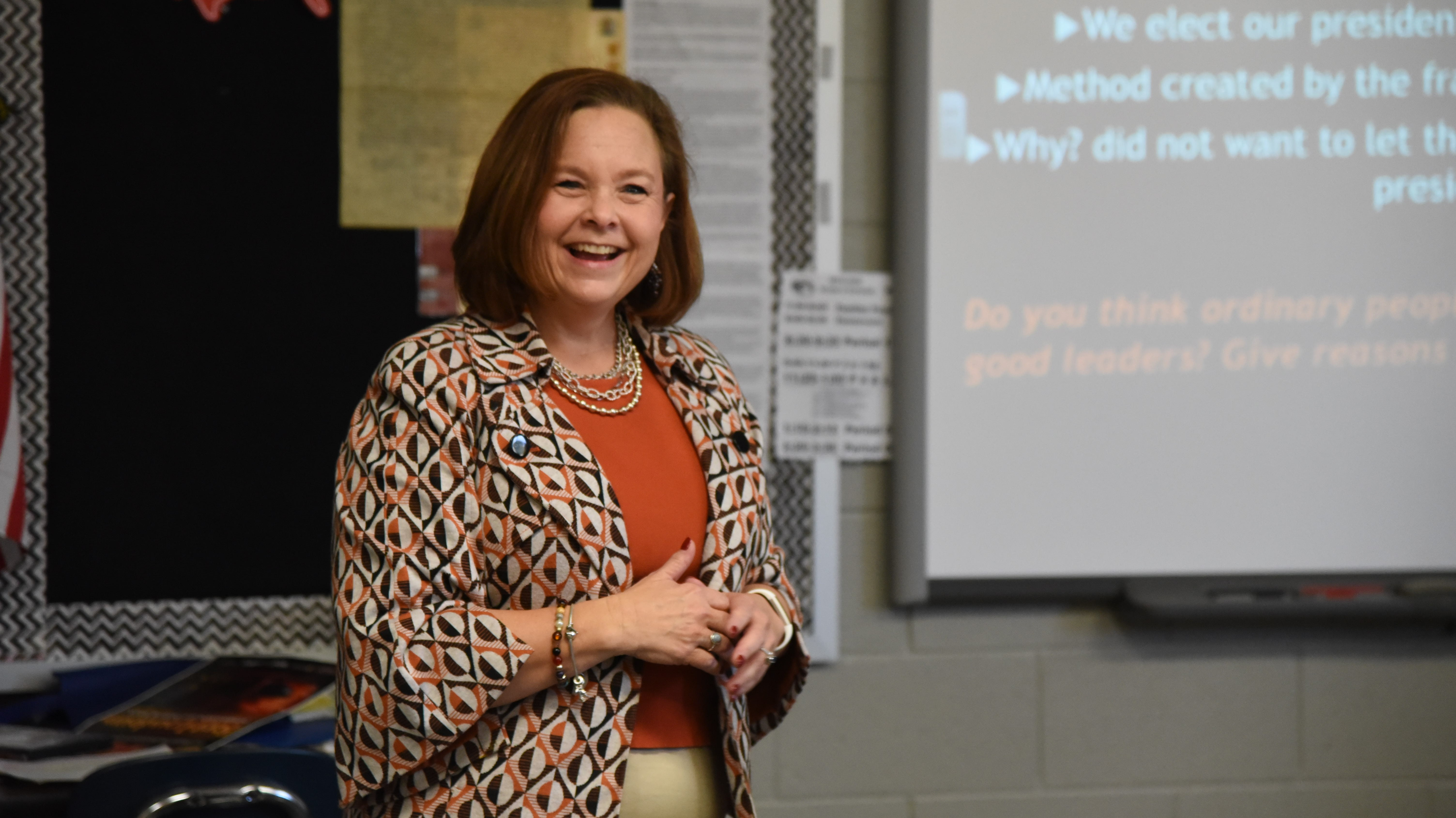 U.S. Bankruptcy Judge Suzanne Bauknight speaks to a class at Powell Middle School while serving as Principal For A Day on Nov. 11, 2019.