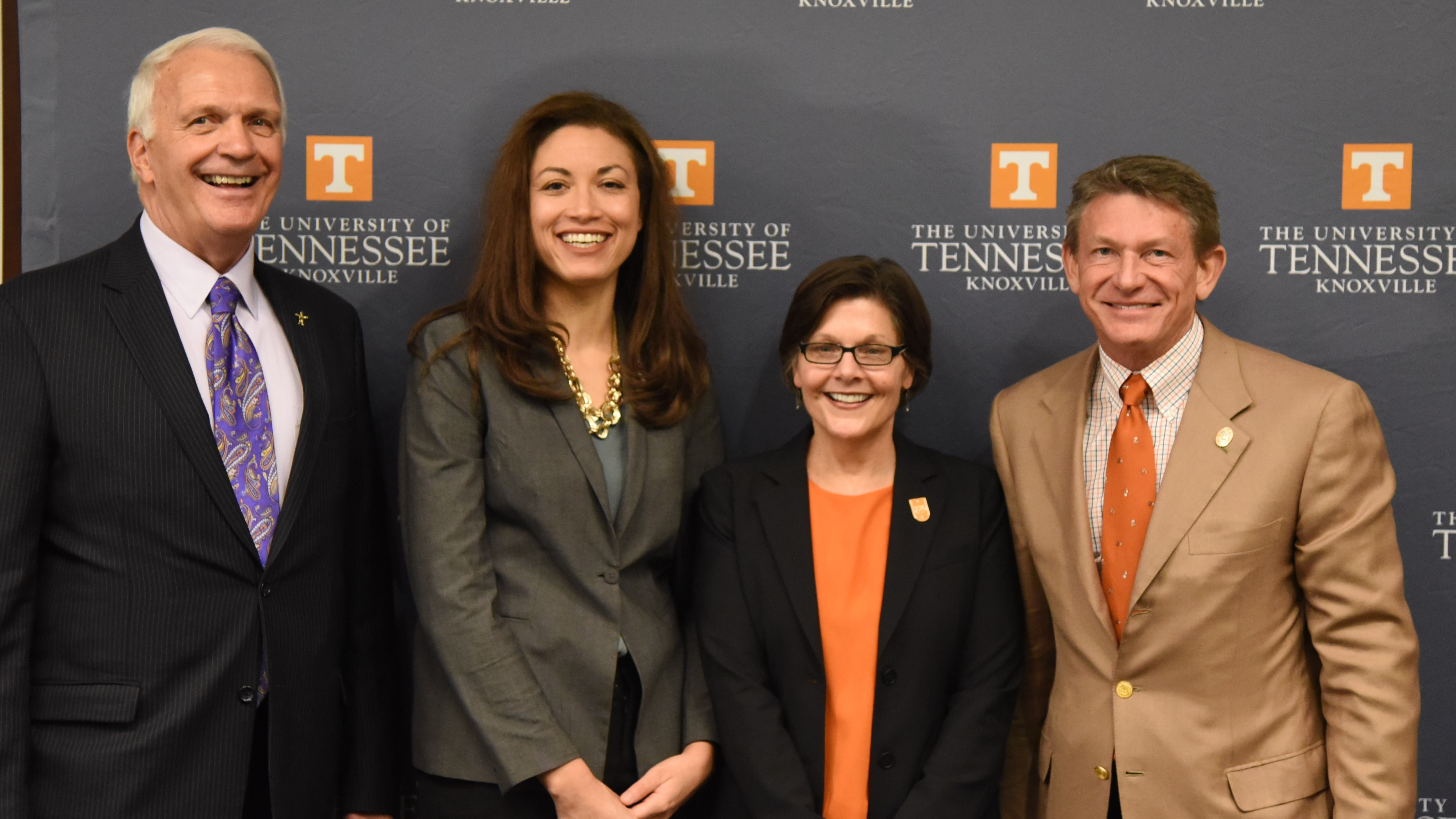 KCS Superintendent Bob Thomas, Tennessee Education Commissioner Penny Schwinn, dean of the UTK College of Education, Health and Human Sciences Ellen McIntyre and interim UT System President Randy Boyd announced the Grow Your Own program on Monday, March 2, 2020.