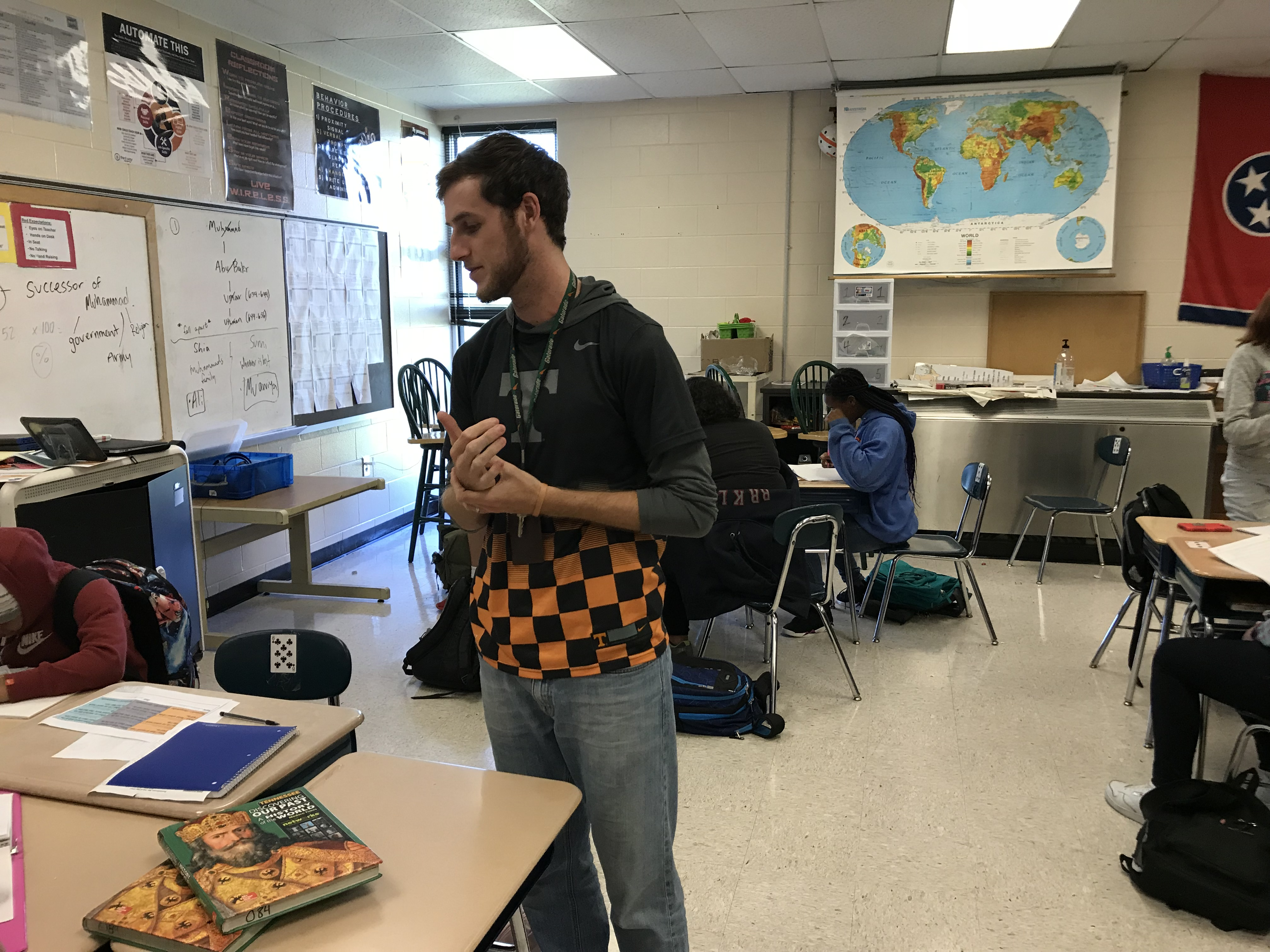 Northwest Middle School teacher Riley Scheyder visits with students on Oct. 19, 2018.