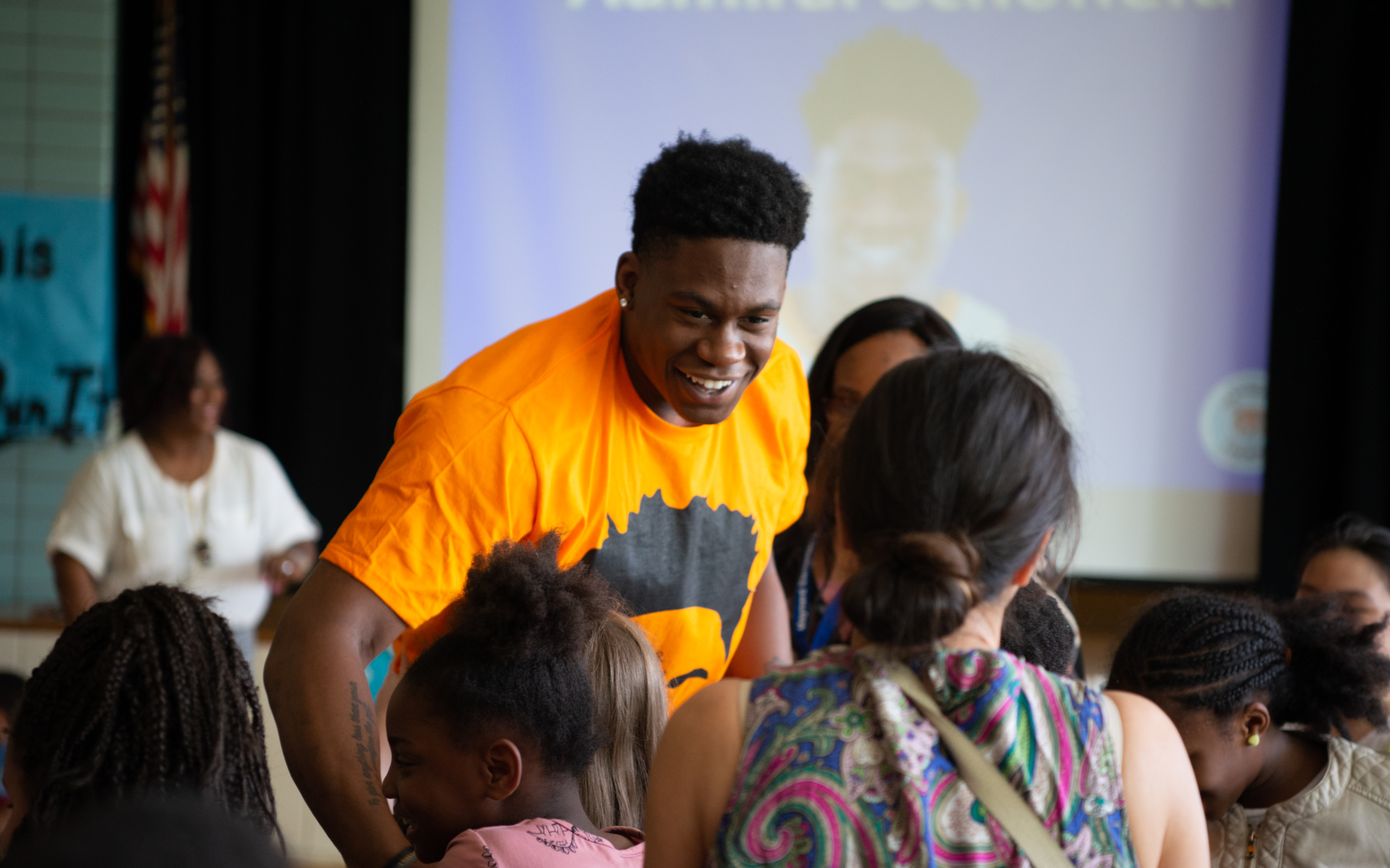 Former University of Tennessee basketball player Admiral Schofield talks to Maynard Elementary students during a visit on April 11, 2019.