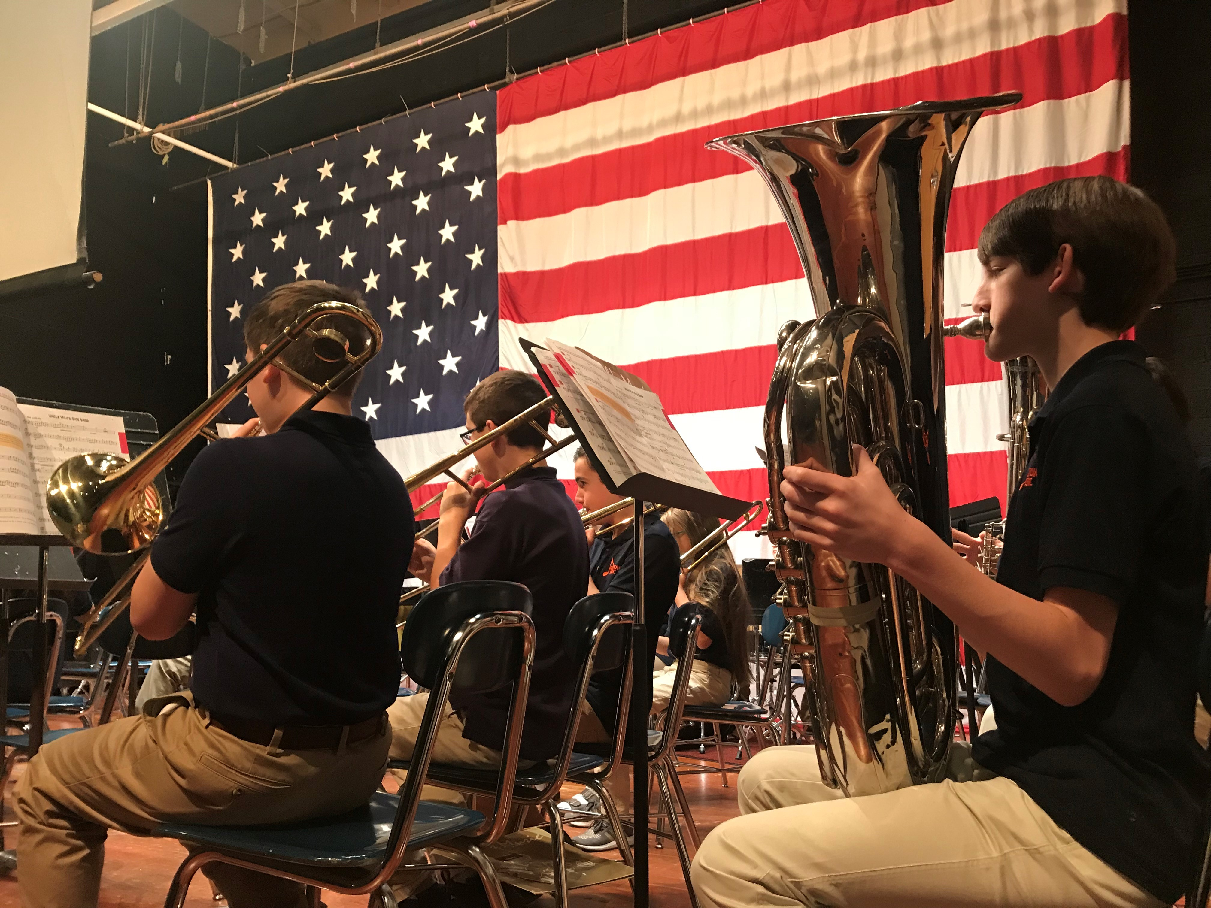 Students from the Holston Middle School jazz band play during a Veterans Day celebration on Nov. 12, 2018.