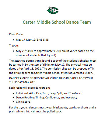 CMS Dance Team Clinic and Tryouts