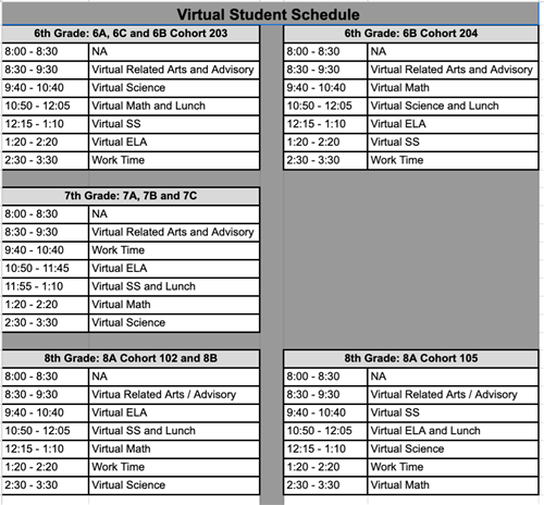 Virtual Student Schedule
