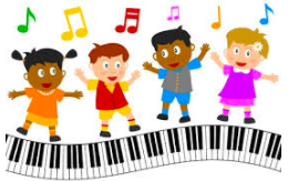 Children dancing on piano keys