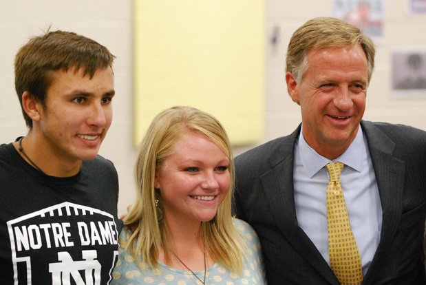 Haslam with students